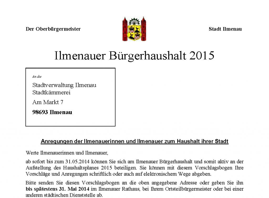 Bürgerhaushalt 2015 – Kleine und große Ideen für unser Ilmenau