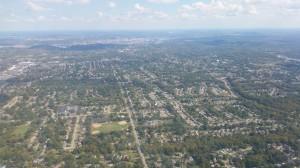 Landeanflug auf Cincinnati (Stadtzentrum im Hintergrund)