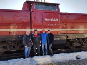Rolf Macholdt, Manfred Thiele, Daniel Schultheiß und Gunter Kreuzberger bei der Rennsteigbahn